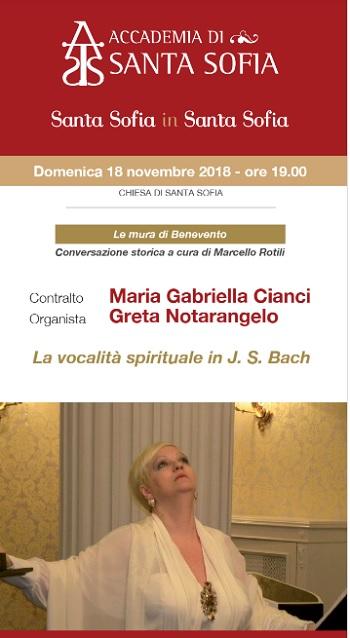 """""""Santa Sofia in Santa Sofia"""": concerto """"La vocalità spirituale in J.S. Bach"""""""