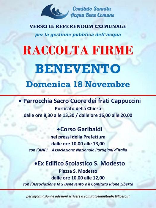 Benevento verso il referendum consultivo per la gestione pubblica dell'acqua