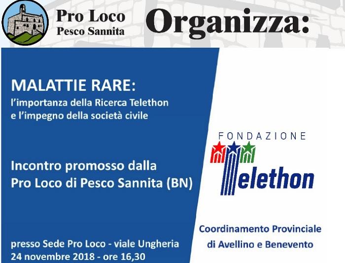 Fondazione Telethon: convegno sulle malattie rare a Pesco Sannita.
