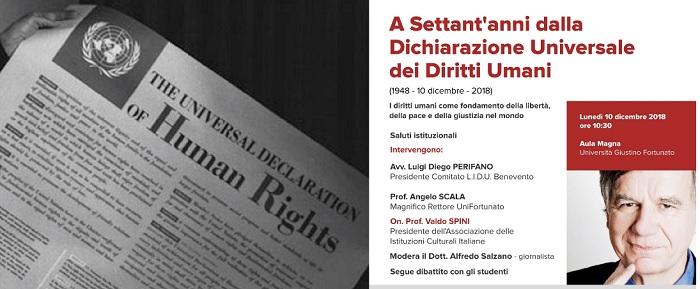 Diritti dell'Uomo. L'on. Prof. Valdo Spini ospite d'onore all'UniFortunato.