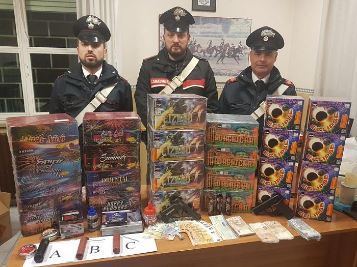 Carabinieri. Maxi sequestro di esplosivi e materiale pirotecnico natalizio di produzione illecita