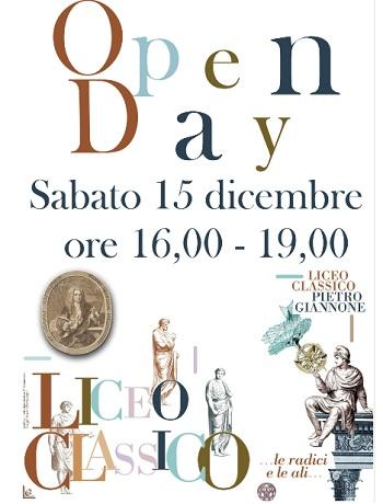 """Open Day Liceo Classico """"Pietro Giannone"""".Sarà presentata l'offerta formativa per l'anno scolastico 2019-2020"""