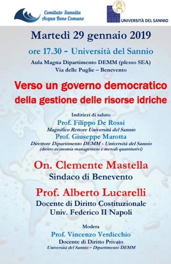 Comitato Sannita ABC: domani confronto tra il Sindaco di Benevento, On. Clemente Mastella, e il Prof. Alberto Lucarelli.