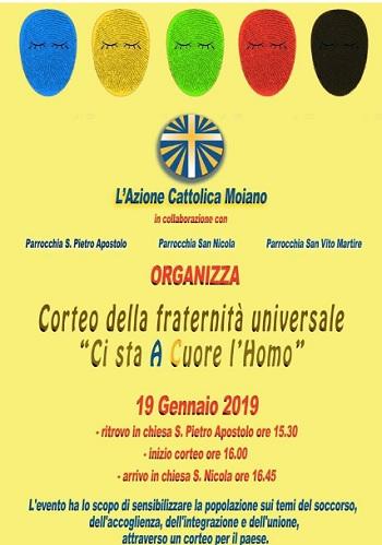 Azione Cattolica Moiano, domani sabato 19 gennaio corteo per la fraternità da Moiano a Luzzano