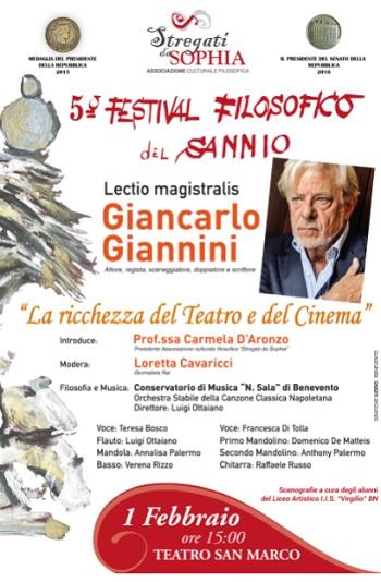 Stregati da Sophia: Partecipazione di Giancarlo Giannini al 5 Festival Filosofico del Sannio.