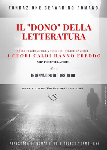 """""""Il dono della letteratura"""".Presso la Fondazione Gerardino Romano la presentazione del libro """"I cuori caldi hanno freddo"""""""