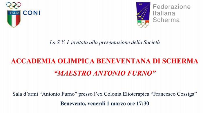 """In città nasce l'Accademia Olimpica Beneventana di Scherma """"Maestro Antonio Furno""""."""