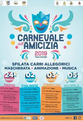 Valle Telesina e Vitulanese Carnevale dell'Amicizia, ecco il programma completo