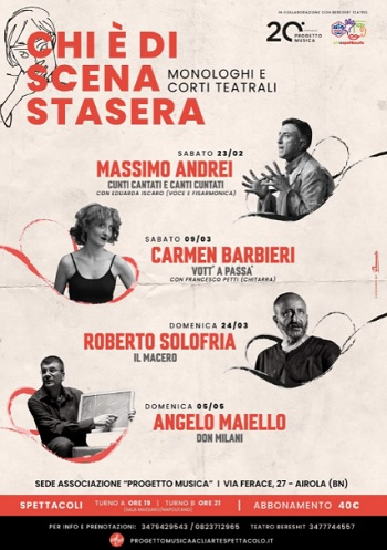 """Ventennale Progetto Musica, al via il format """"Chi è di scena stasera?""""con l'attore Massimo Andrei."""