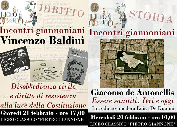 Incontri giannoniani: mercoledì 20 Febbraio il dott. de Antonellis e giovedì 21 Febbraio il prof. Baldini