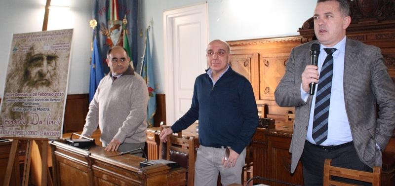 """Stamani alla Rocca dei Rettori è stata presentata la Mostra """"Leonardo da Vincii,la vita,le opere,i codici e le macchine"""""""