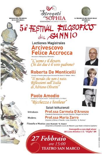 """""""Stregati da Sophia"""": Felice Accrocca al quinto appuntamento del Festival Filosofico del Sannio"""
