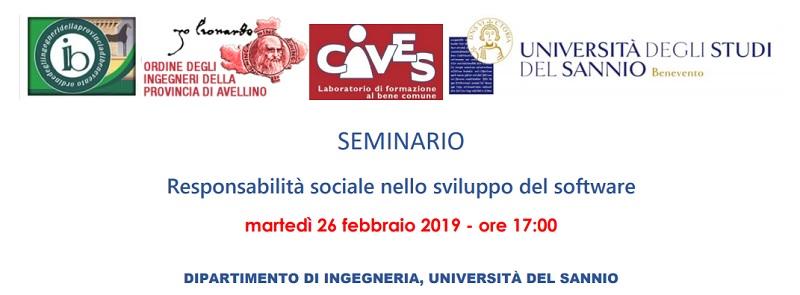 """Presso l'Università del Sannio seminario formativo:""""Responsabilità sociale nello sviluppo del software"""""""