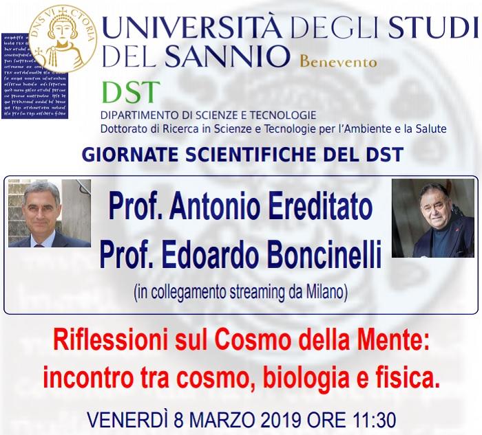 Riflessioni sul Cosmo della Mente: l'8 Marzo Seminario dei prof. Antonio Ereditato ed Edoardo Boncinelli