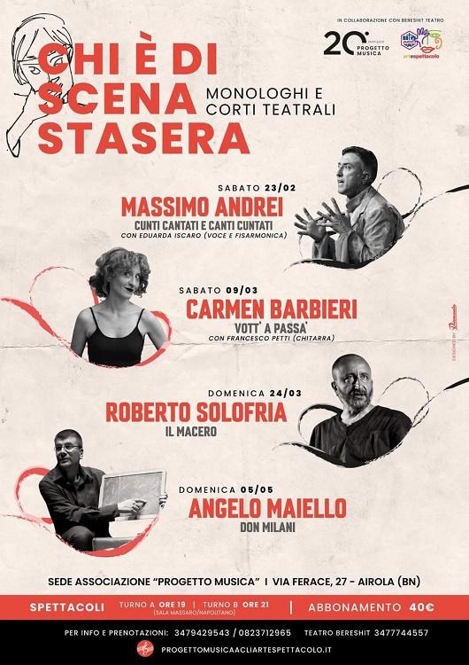 """20° Progetto Musica, """"Chi è di scena stasera?"""": domani il monologo """"Il Macero"""" di e con Roberto Solofria"""
