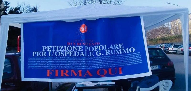 Azienda Ospedaliera San Pio, IoX Benevento: raccolte le prime mille firme.Da oggi in strada con i gazebo