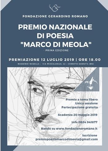 """Al via la Prima Edizione del Premio Nazionale di Poesia """"Marco Di Meola"""""""