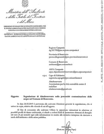 Altrabenevento: il Ministero dell'Ambiente chiede relazione sulla contaminazione dei pozzi Pezzapiana e Campo Mazzoni.