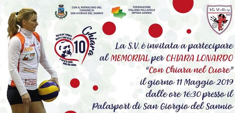 """S.G. Volley  organizza il Memorial """"Con Chiara nel Cuore"""" 11 Maggio a San Giorgio del Sannio."""