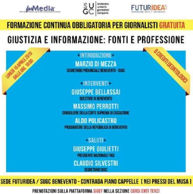 """""""Giustizia e informazione: fonti e professione"""".Seminario di formazione per i giornalisti."""