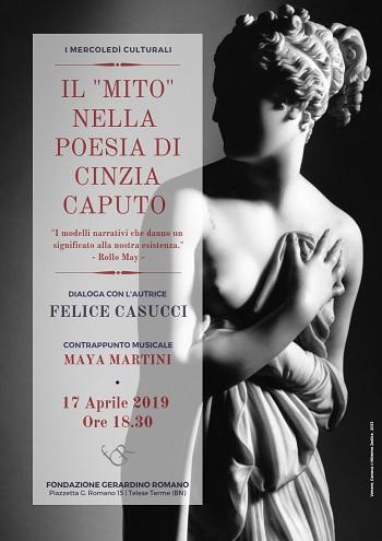 """""""Il mito nella Poesia di Cinzia Caputo""""mercoledì presso la Fondazione Gerardino Romano"""