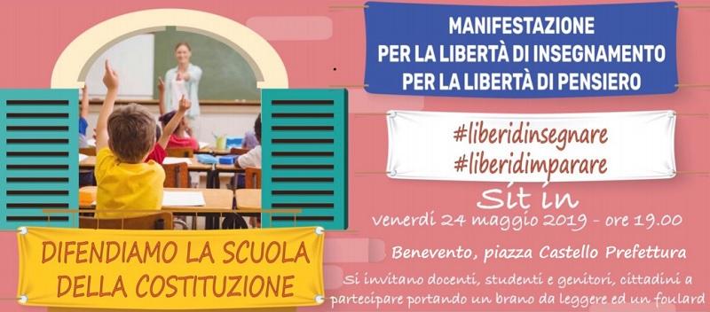 Il 24 Maggio Sit in – #liberidimparare #liberidinsegnare a Benevento piazza Castello