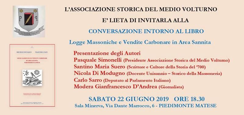 """Libro: """"Logge Massoniche e Vendite Carbonare nel Sannio"""", sarà presentato il 22 giugno."""