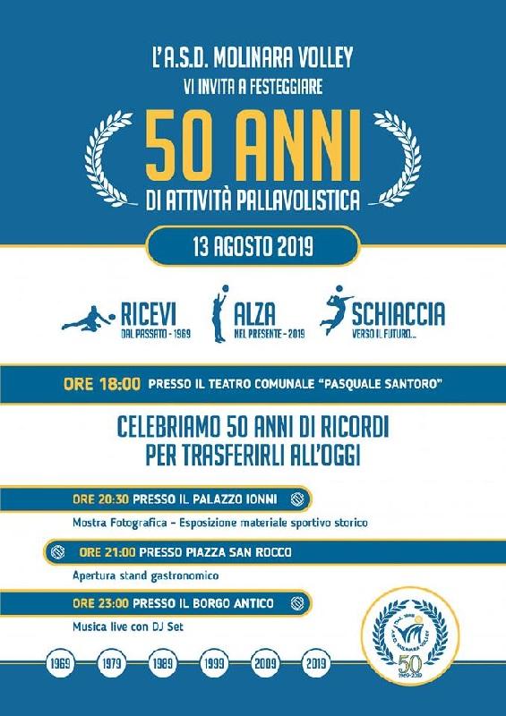 Festa per i 50 anni di attività del Molinara Volley