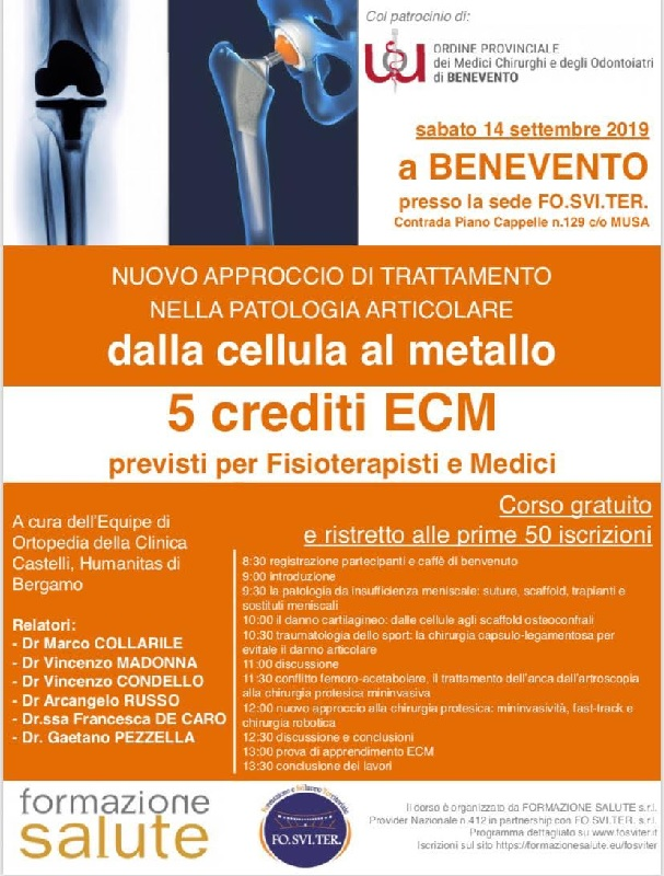 Benevento. Domani il seminario di Ortopedia sulle nuove cure innovative per le patologie articolari