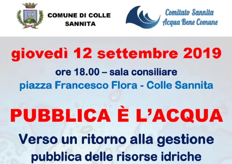 """A Colle Sannita il 12 Settembre manifestazione: """"Pubblica è l'Acqua"""""""
