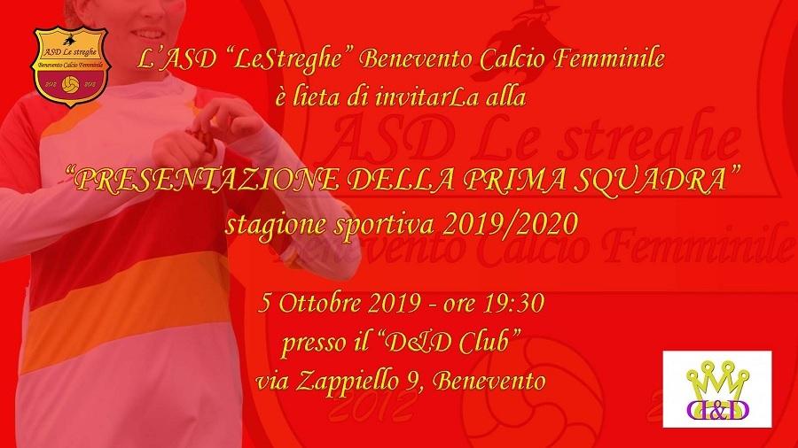 """Il 5 Ottobre la presentazione della Prima Squadra dell'ASD Benevento Calcio Femminile """"Le Streghe"""""""