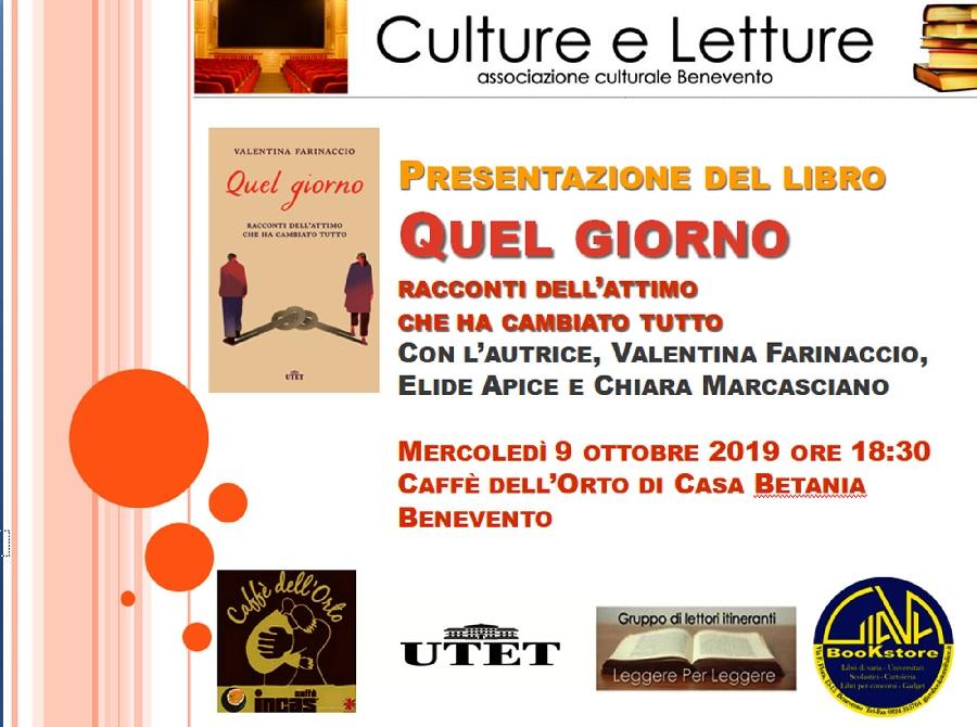 """Mercoledì 9 Valentina Farinaccio presenta l'ultimo libro """"Quel giorno"""""""