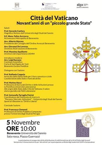 """Università degli Studi del Sannio: il 5 Novembre la presentazione del volume""""Città del Vaticano"""" di Francesco Clementi"""