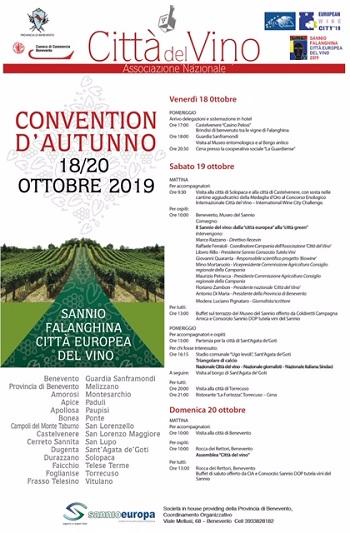 """Da oggi avvio nel Sannio della Convetion d'Autunno """"Città del Vino"""""""