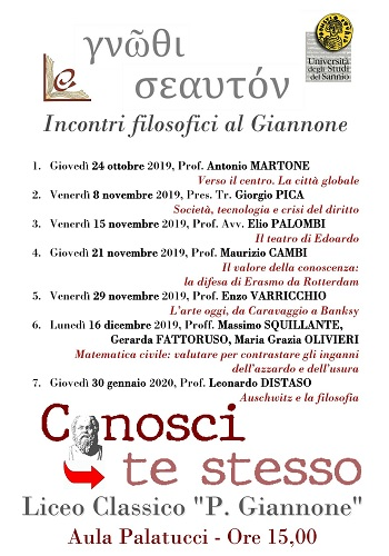 """Al Liceo Classico """"Pietro Giannone"""" inizierà il tradizionale ciclo di incontri di filosofia."""