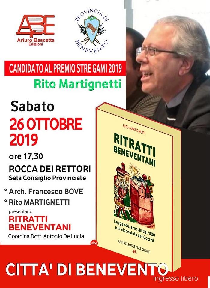 """Sabato 26 la presentazione del volume """"Ritratti beneventani"""" dell'autore Rito Martignetti"""