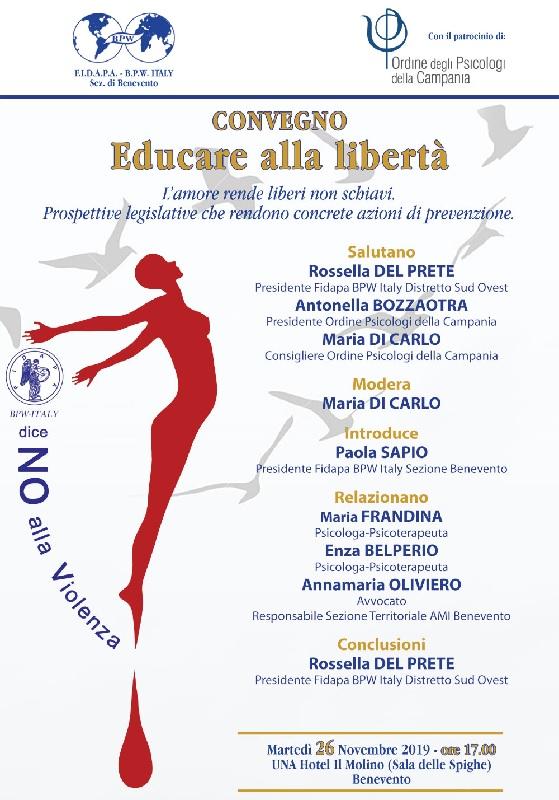"""""""Educare alla libertà"""", convegno organizzato dalla FIDAPA – BPW Italy sezione di Benevento"""