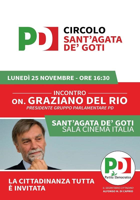 Lunedì 25 Novembre l'on. Graziano Del Rio sarà a Sant'Agata de' Goti