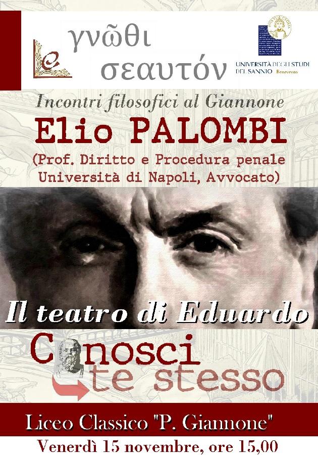 "Benevento. Incontri filosofici al Giannone: Elio Palombi ""Il teatro di Eduardo"""