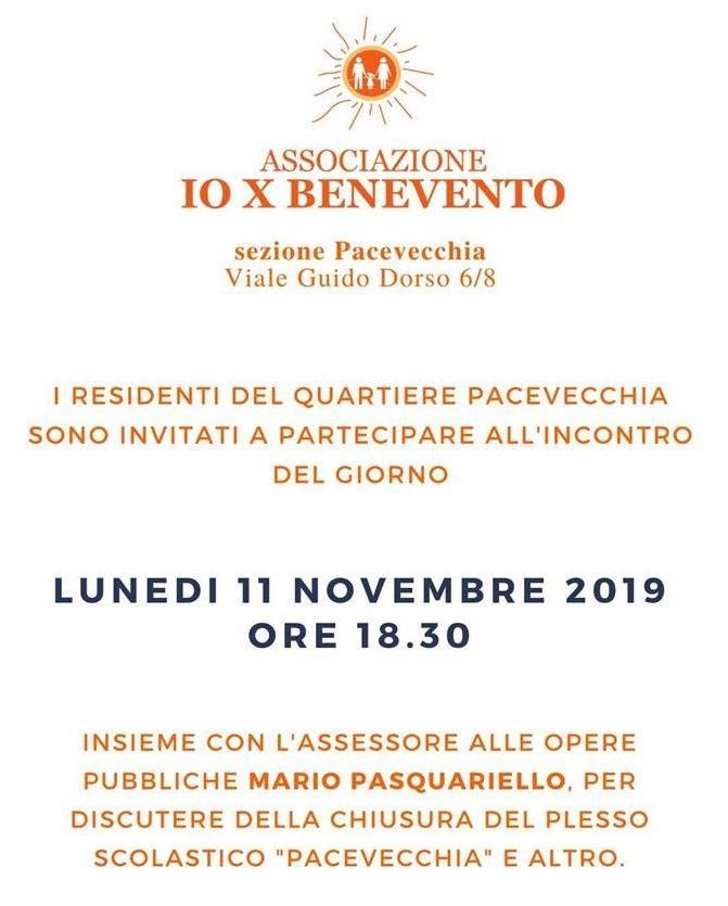 Io X Benevento. Lunedì 11 Novembre incontro pubblico a Pacevecchia con l'Assessore Pasquariello