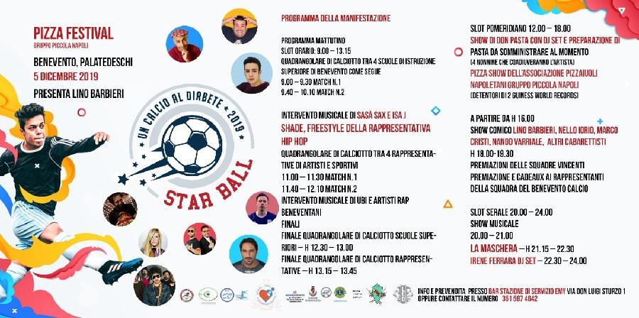 "Il 5 Dicembre al Palatedeschi ""Un calcio al Diabete 2019 – Star Ball""."