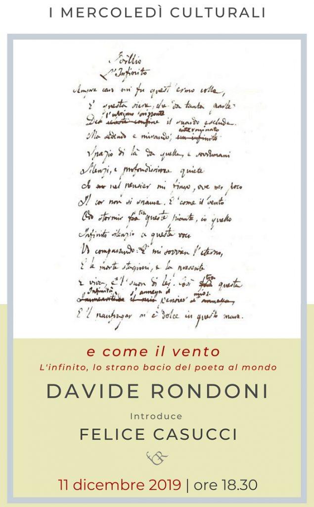 """""""E come il vento"""" L'infinito, lo strano bacio del poeta al mondo"""" all'incontro presso la fondazione Gerardino Romano"""