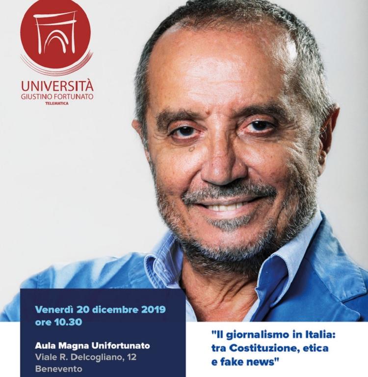 """Franco Di Mare all'Unifortunato sul tema: """"Il giornalismo in Italia: tra Costituzione, etica e fake news"""""""