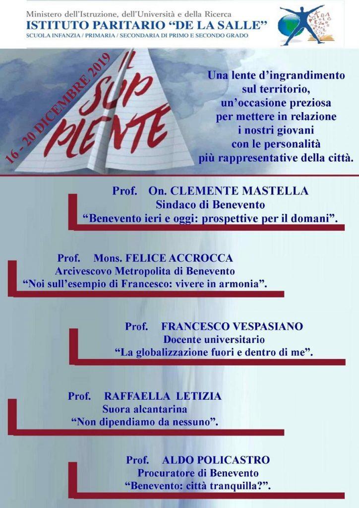 Al De La Salle di Benevento dal 16 al 20 dicembre supplenti d'eccezione