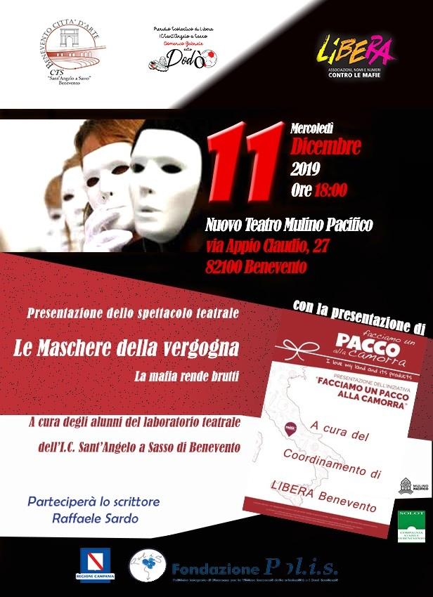 """Benevento. Mercoledì 11 dicembre la rappresentazione teatrale """"Le maschere della vergogna"""""""