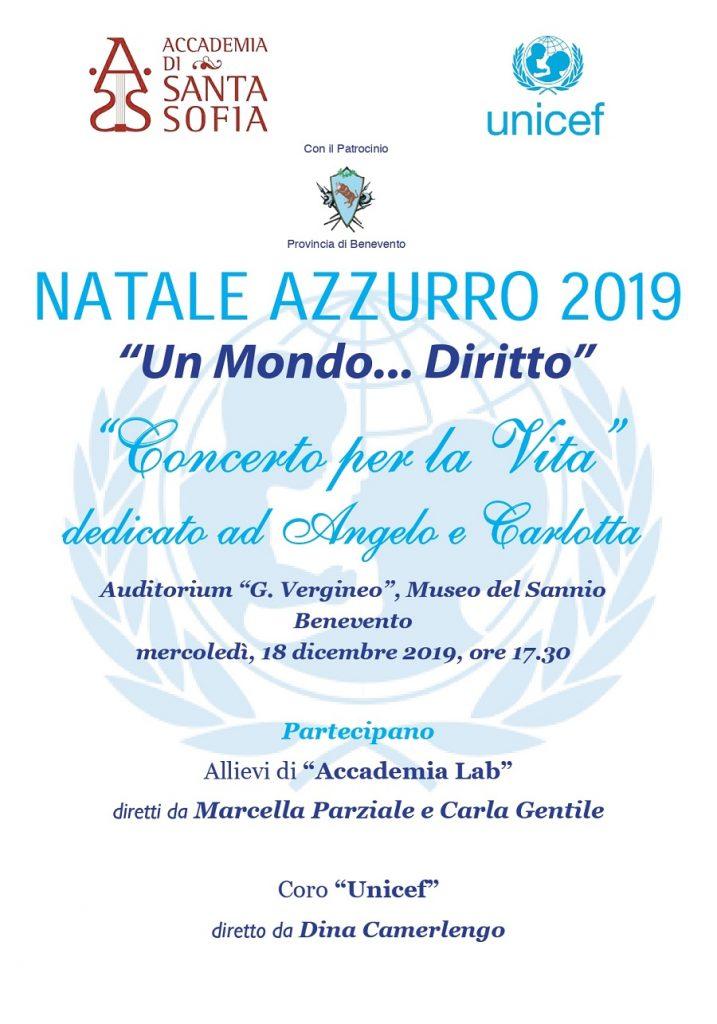 """Domani il tradizionale """"Concerto per la vita"""" organizzato da Unicef di Benevento e Accademia di Santa Sofia"""