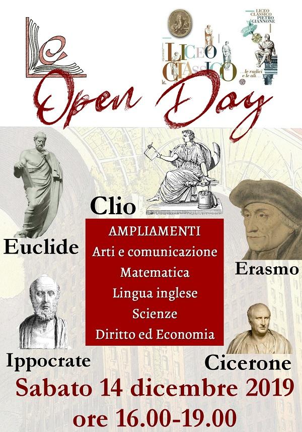 Primo Open Day del Liceo Classico Pietro Giannone sabato 14 Dicembre