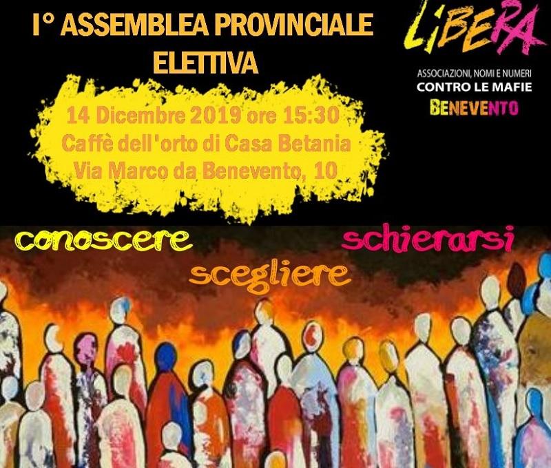 Sabato 14 dicembre la prima assemblea elettiva di Libera Benevento