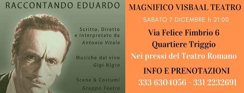 """Il Magnifico Visbaal Teatro presenta il Gruppo Teatro Studio in """"Raccontando Eduardo"""""""