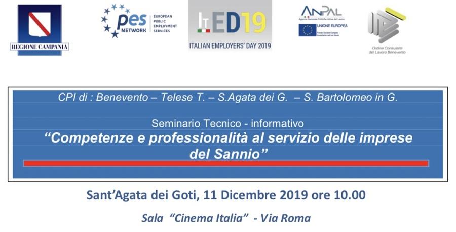 """Seminario: """"Competenze e professionalità al servizio delle imprese del Sannio"""" a Sant'Agata dei Goti"""